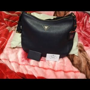 PRADA Navy Blue Saffiano Leather Shoulder Bag